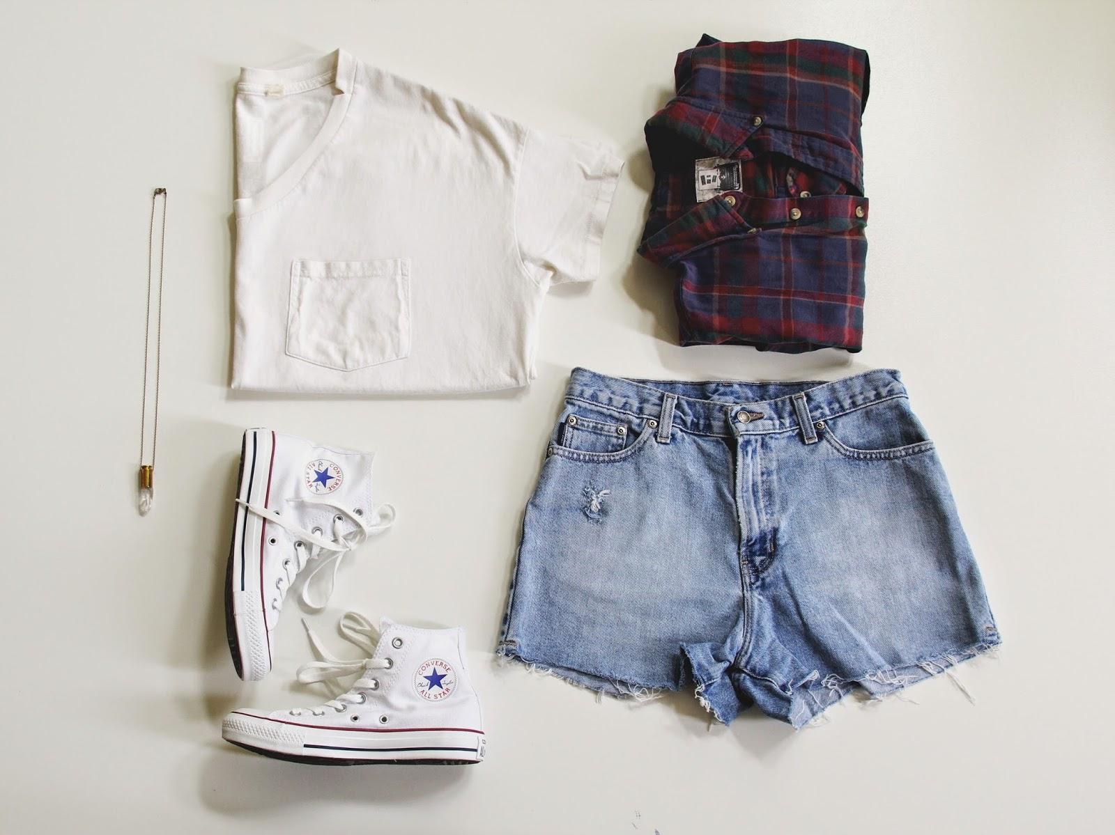 Flannel, Crystal Bullet, Vintage Denim Shorts, Converse, White T-shirt