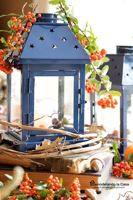 Blue lantern centerpiece on a fall tablescape
