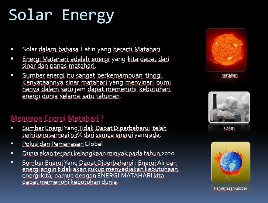 Matahari Sebagai Sumber Energi Arrayhan E Learning