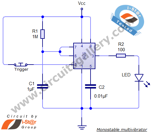 Monostable+multivibrator+Circuit+giagram Monostable 555 Multivibrator Working Principle and Circuit diagram with Animation