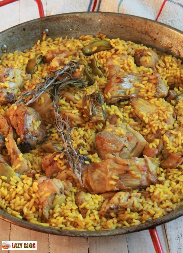 Lazy blog paella de conejo y alcachofas receta - Como cocinar paella ...