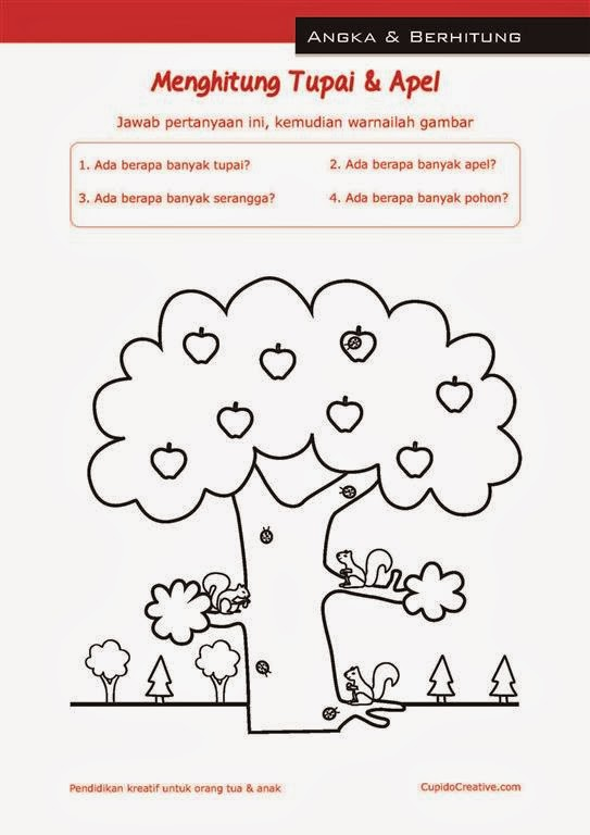 Lembar belajar anak TK/balita berhitung angka 1 sampai 10 untuk orang ...