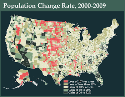 Map Of The Week April - Us population change map