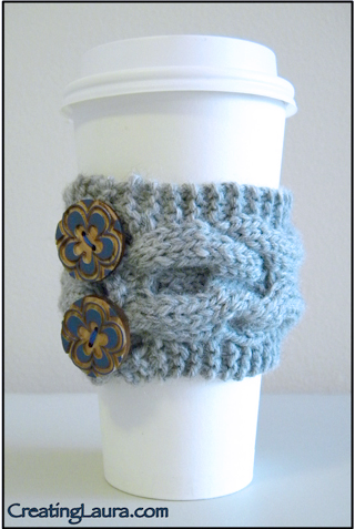 Free Knitting Pattern Coffee Cup Sleeve : Creating Laura: XOXO Coffee Cup Sleeve