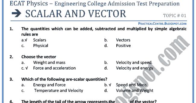 practical centre  ecat physics -  scalar  u0026 vectors