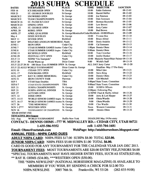 2013 SUHPA Schedule