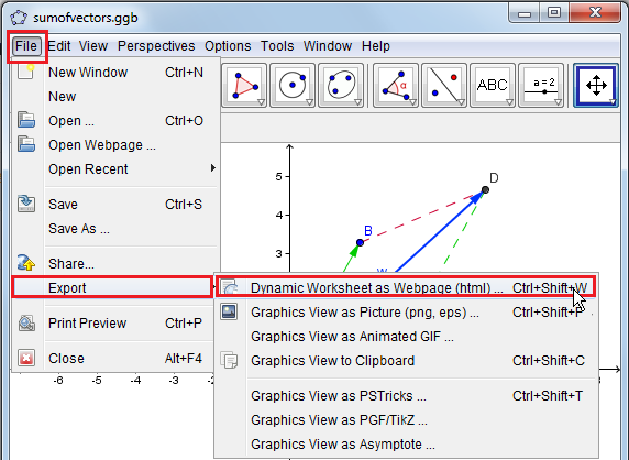 Tutorial 6 - Exporting Worksheet as HTML ~ GeoGebra Institute of Metro ...