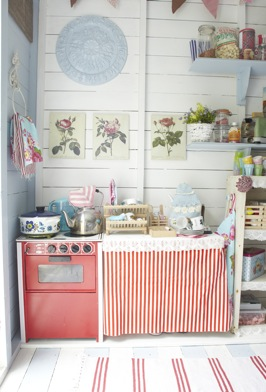 Aplaceimagined pretty playhouse interior for Beach hut style interiors
