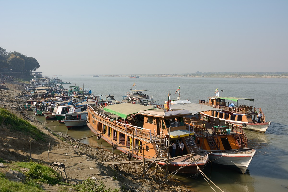 Tour boats on Irrawaddy River