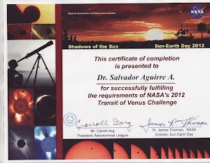 NASA: Certificado Observ. Transito de Venus 2012