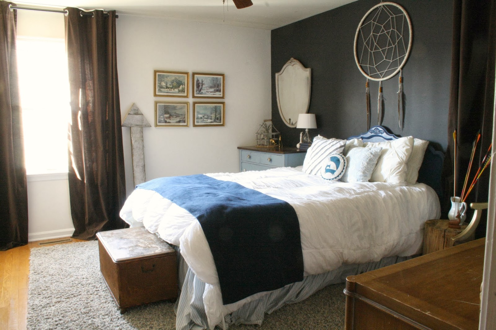 Moody boho bedroom guest room reveal cassie bustamante for Above bed decoration ideas