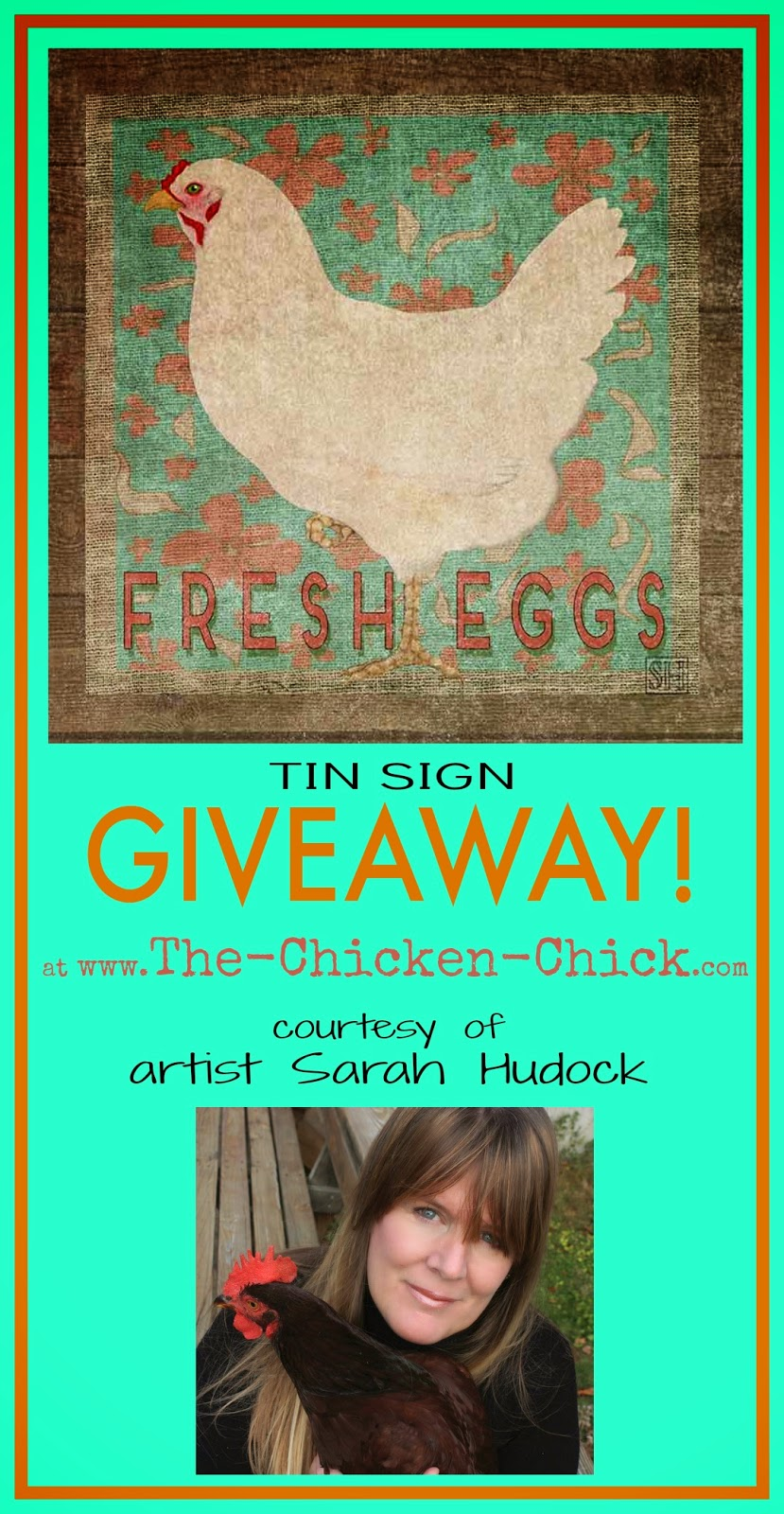 Chicken Art Giveaway, courtesy of artist Sarah Hudock at The Chicken Chick®