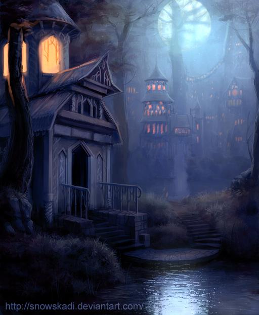 Elven Town  - night version por SnowSkadi