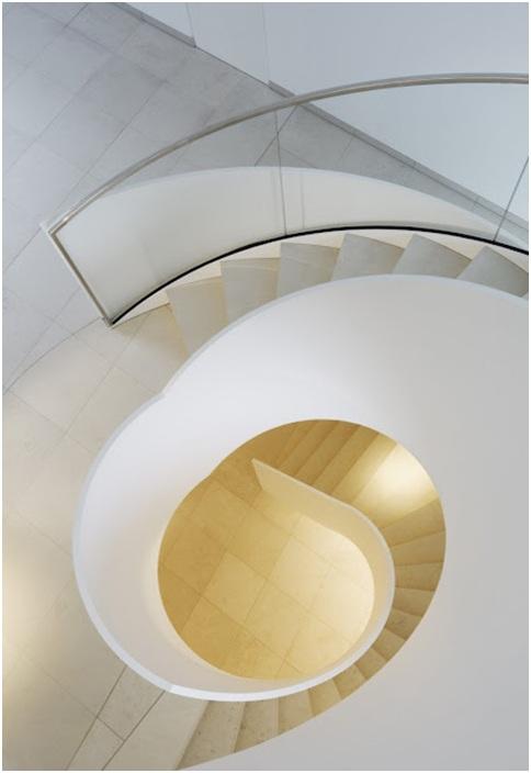 Spiral staircase. White minimalist stairs