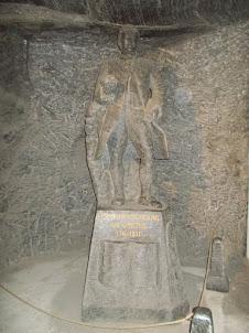 Rock salt statue of  Composer Van.Goethe  in Wieliczka salt mines.