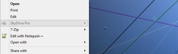 SkyDrive Pro Context Menu