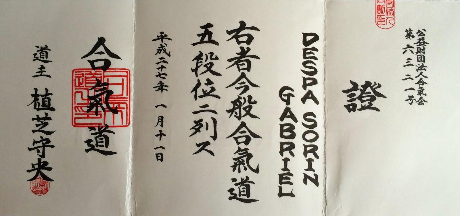 Sensei Sorin Despa-Diploma 5Dan AIKIDO AIKIKAI(Hombu Dojo Japonia)