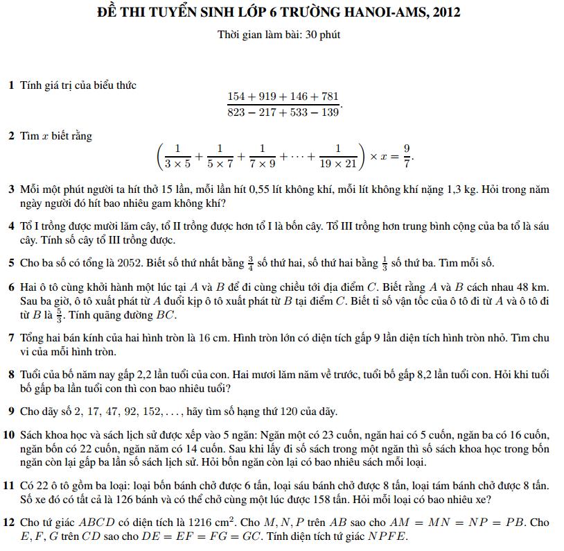 Đề thi và đáp án môn toán vào lớp 6 trường Amsterdam 2012 - 2013