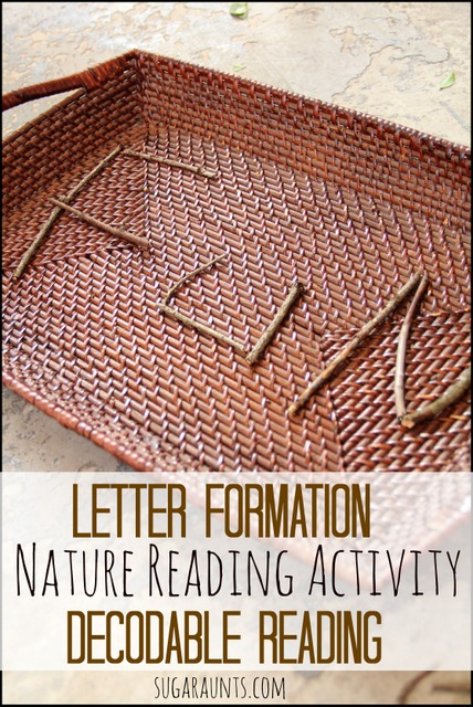 Work on letter formation and decodable reading using nature. From Sugar Aunts