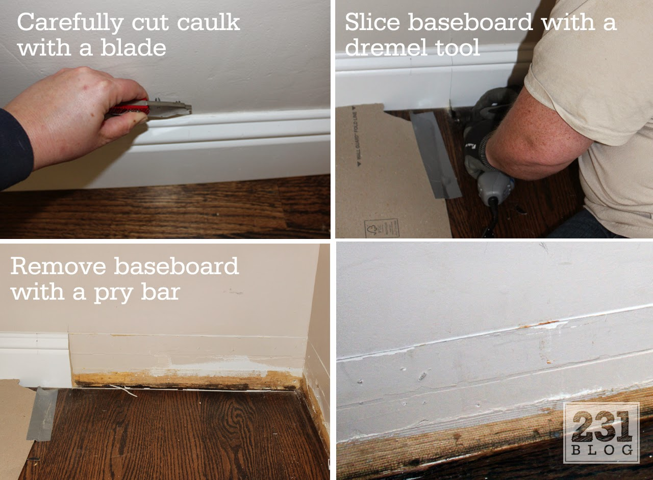 carefully removing baseboards for use later