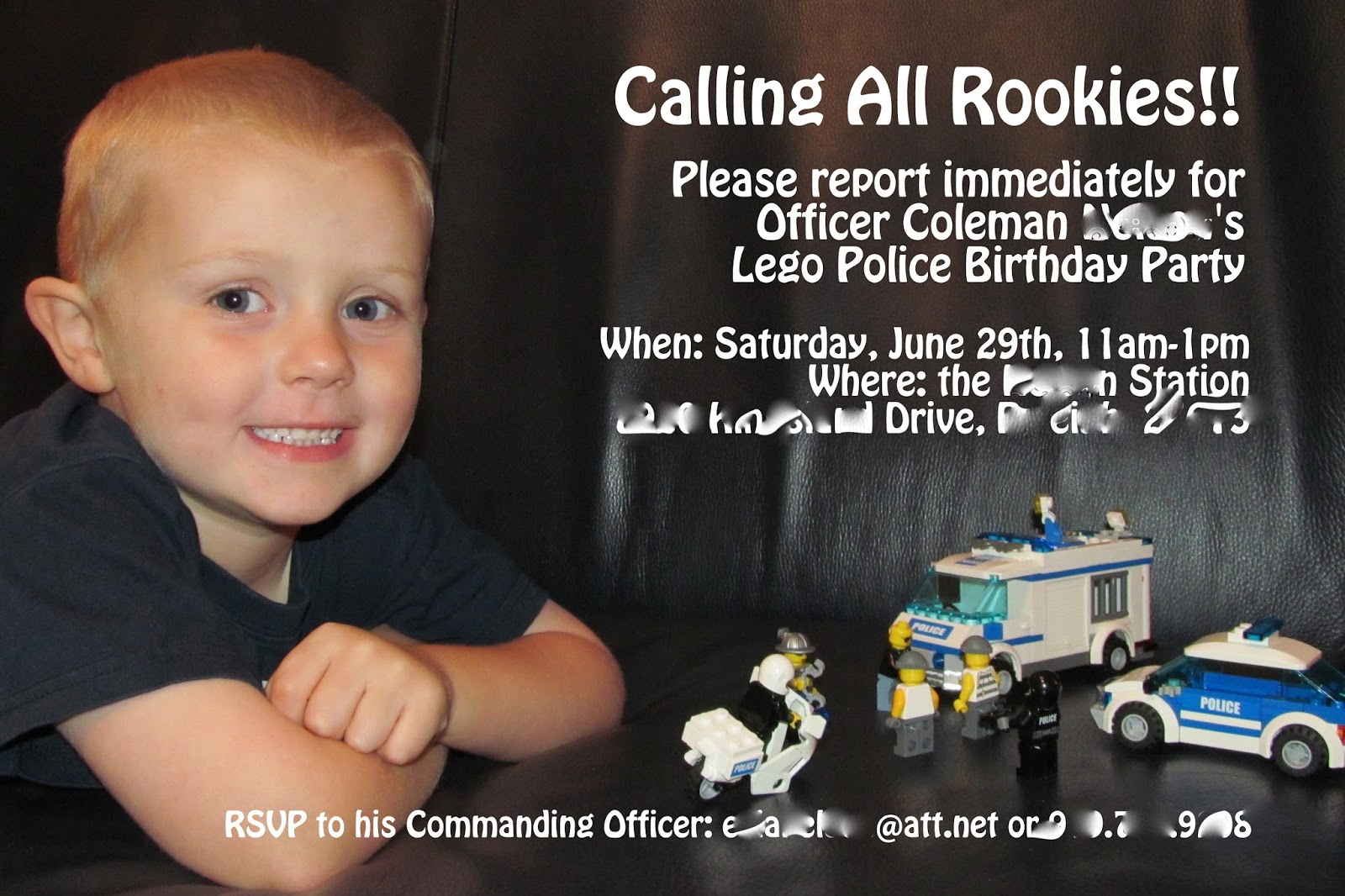 First The Invitations I Took A Picture Of Cole On Couch With His Lego Police Cars And Just Added Text To It Was Quite Happy How Turned Out