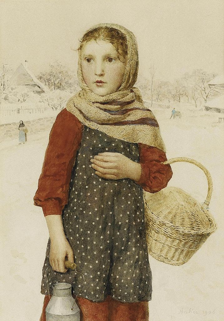 albert anker, painting review, winter dress