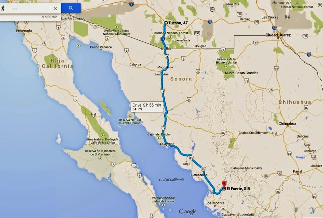 https://www.google.com/maps/dir/Tucson,+AZ/El+Fuerte,+SIN,+Mexico/@29.2018376,-110.0512996,7z/data=!4m13!4m12!1m5!1m1!1s0x86d665410b2ced2b:0x73c32d384d16c715!2m2!1d-110.926479!2d32.2217429!1m5!1m1!1s0x86b90e1dbd9d1aaf:0x7cdd4b45562640ca!2m2!1d-108.619199!2d26.414207
