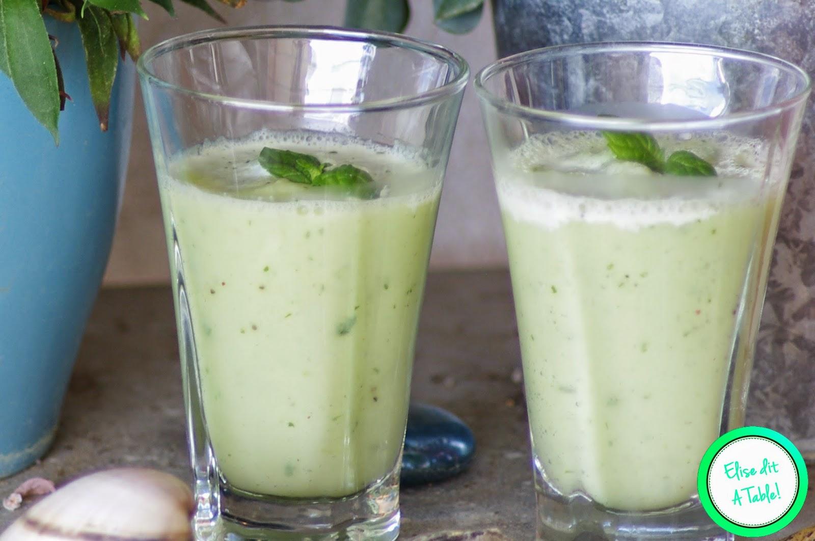 Verrine de soupe concombre menthe
