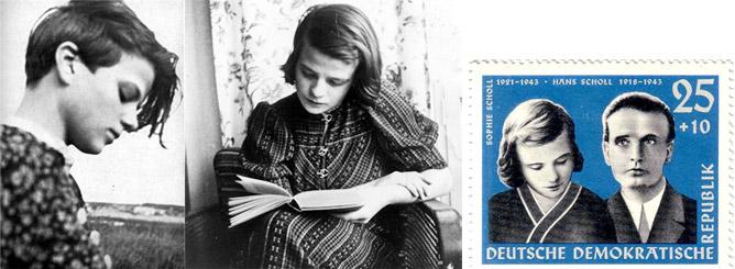 Hans et Sophie Scholl et timbre commémoratif
