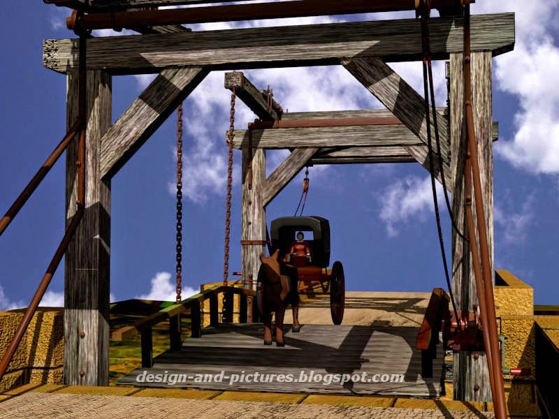 Carroça passando sobre a ponte levadiça