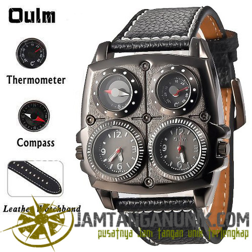 Jam tangan Oulm steampunk with compass & thermometer