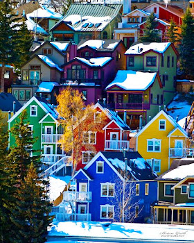 The colorful houses of Park City, Utah