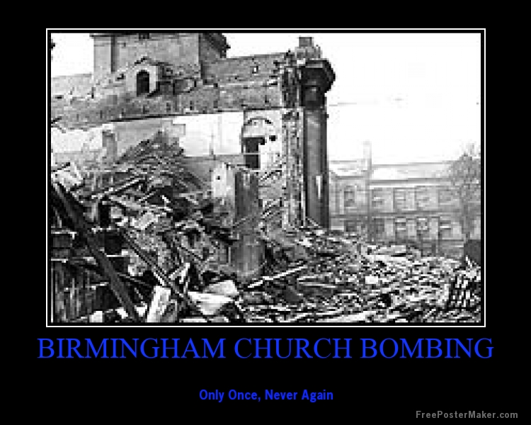 the birmingham church bombing Fifty years ago on sunday, september 15, 1963, a bomb exploded at 16th street  baptist church in birmingham, alabama the blast killed four.