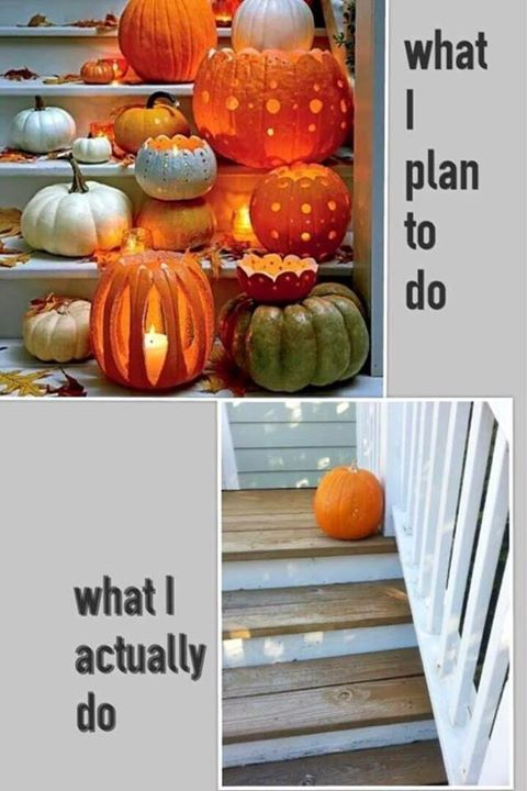 pro tip to avoid having your house looking like the sad pumpkin in the second part of this meme you have to start decorating early - When To Start Decorating For Halloween
