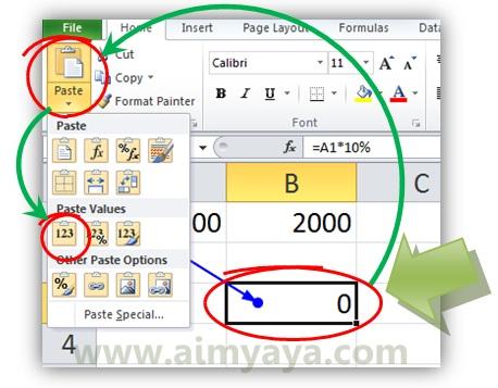 Gambar: Contoh sederhana mengatasi circular references dengan paste values di microsoft excel 2010