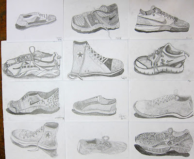 Mr bob 39 s middle high school art room shoe drawings for Shoe sculpture ideas