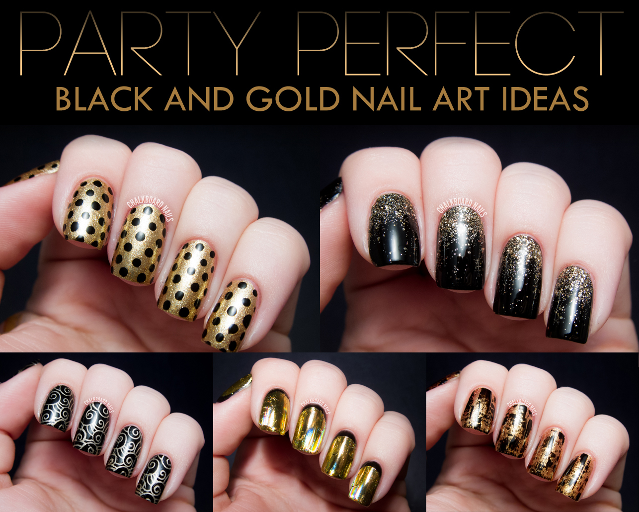 I have been wearing a lot of black and gold manicures lately, and I thought  it would be the perfect opportunity to highlight one of my favorite party  ... - Party Perfect: Black And Gold Nail Art Ideas Chalkboard Nails