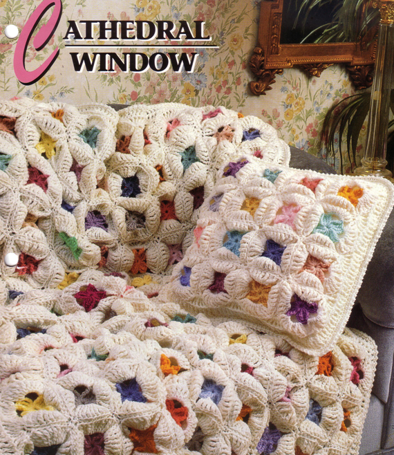 Crochet Quilt Afghan : ... Cathedral Window Traditional Quilt Afghan and Pillow Crochet Pattern