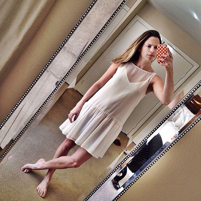 white dropped waist dress