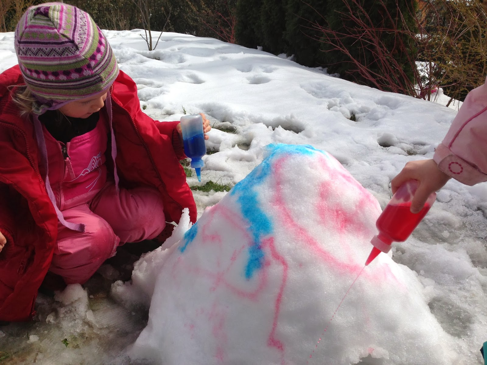 playing in the snow - snow painting