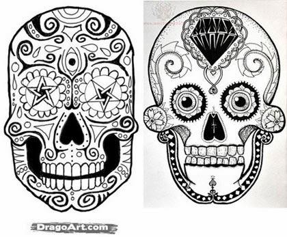Desenhos de tatuagens de caveira mexicana