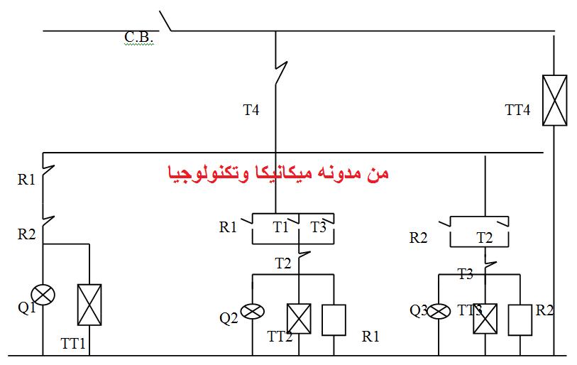 الدائرة الكهربية لإشارة المرور