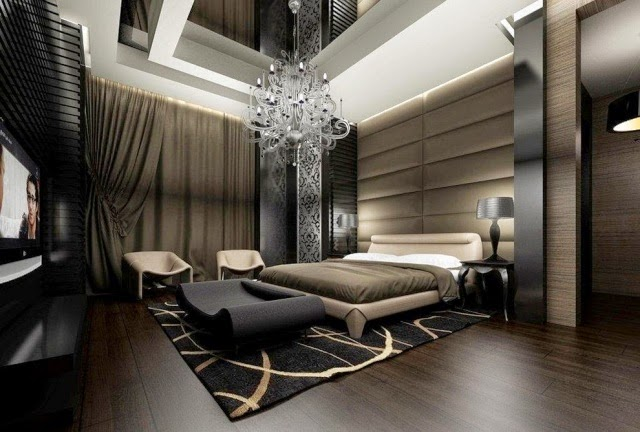Luxury Bedroom Ideas Dark Colors Floor Crystal Chandelier