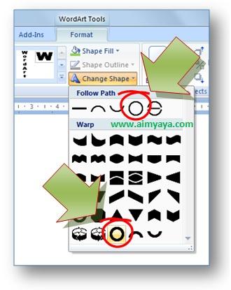 gambar cara membuat teks artistik melingkar dengan wordart