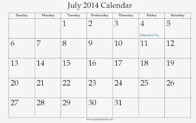 July 2014 Calendar Printable Printable Calendar 2014 Blank