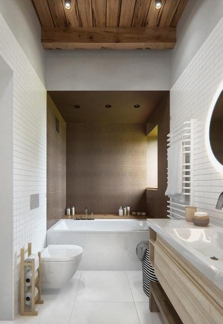 banheiro com móveis de madeira
