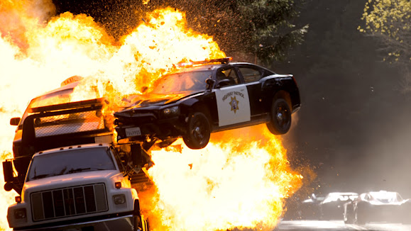 police car explosion need for speed movie 2014