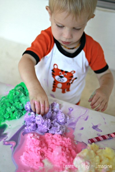 Sensory play with frozen smoothie paints