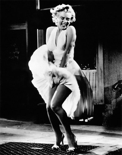 Marilyn Monroe, white dress, subway grate, blowing up skirt, Seven Year Itch, movie still, iconic image, iconic photo, most famous photo of Marilyn Monroe