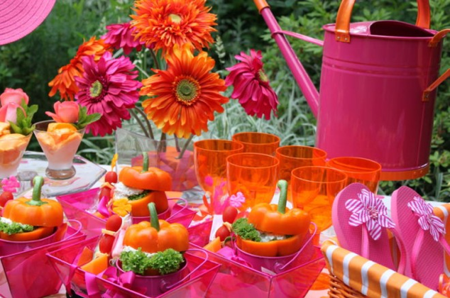 Colores para la mesa fucsia y naranja for Decoracion naranja